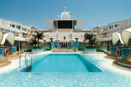 The Copacabana Pool is the larger of the two swimming pools on the luxury MSC Musica.