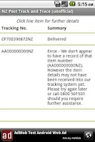 Screenshot of NZ Post Track and Trace (un)