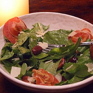 Arugula Salad w/ Olives, Pancetta & Parmesan Shavings