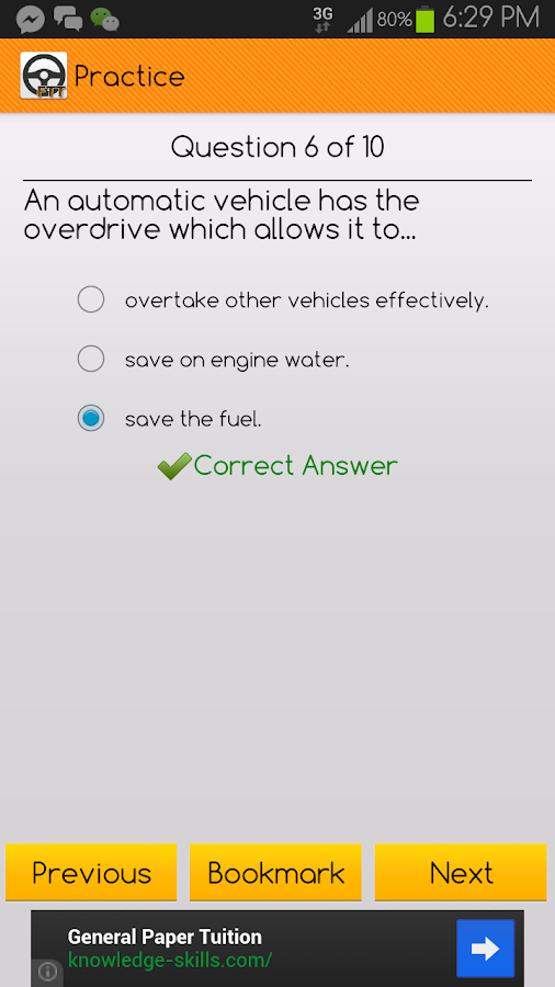 Final Theory Test Learner (SG)- screenshot