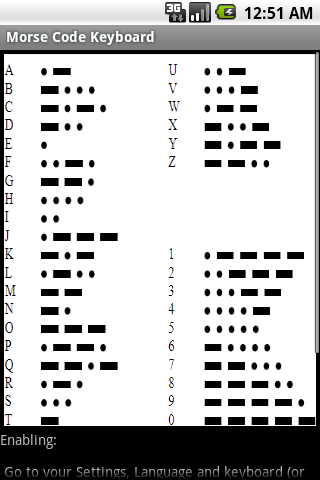 Morse Code Keyboard - screenshot