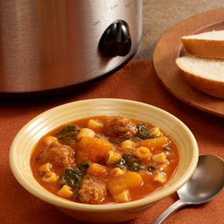 Slow Cooker Butternut Squash Soup with Sausage.