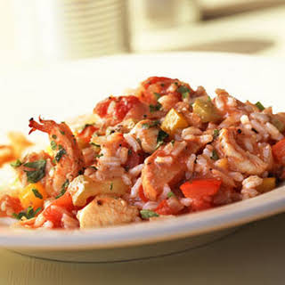 Peppered Chicken-and-Shrimp Jambalaya.