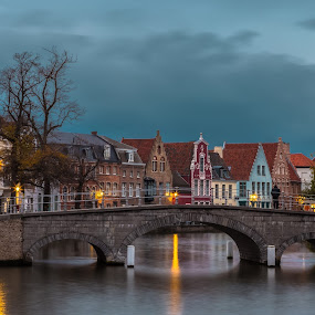 In Bruges by Stephen Bridger - City,  Street & Park  Neighborhoods ( europe, bruges, belgium, bridge, travel, evening, canal, travel photography )