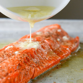 Garlic Butter Salmon with Caramelized Shallot Relish.