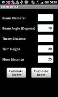 Screenshot of Lighting Beam Calculator