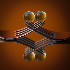 soft kiss by José M G Pereira - Artistic Objects Cups, Plates & Utensils ( mirror, reflection, forks, close up, close )