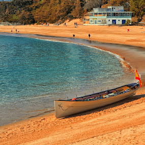 The lonely boat by Orkidea W. - Landscapes Waterscapes ( #santander #beach #blue #boat #nikon #orkidea #sea #summer,  )