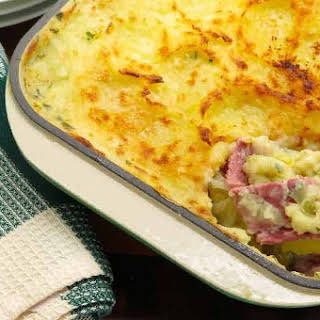 Mashed Potato-Topped Corned Beef and Cabbage Casserole.
