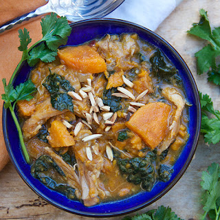 CHICKEN STEW WITH SWEET POTATOES APRICOTS AND KALE