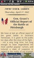 Screenshot of 1862 June Am Civil War Gazette