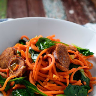 Sweet Potato Noodles with Linguica & Spinach.