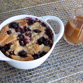 Blueberry Bread Pudding with Vanilla Sauce