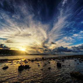 Asan Beach Low Tide by Jun Robato - Landscapes Cloud Formations ( clouds, asan, guam, sunsets, landscapes )