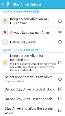 Stay Alive! Keep screen awake (Donate) 1.7.0.0 APK