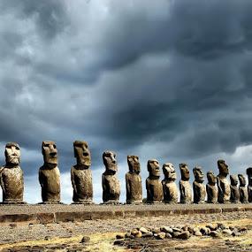Sentinels of stone by Anna Tatti - Buildings & Architecture Statues & Monuments ( easter island moai ahu tongariki statues,  )