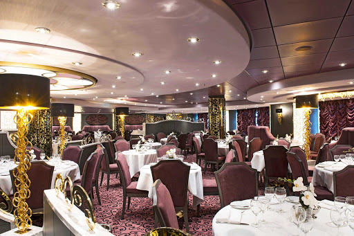 MSC-Preziosa-L'Arabesque-Restaurant - L'Arabesque, MSC Preziosa's elegant aft restaurant, gives passengers the option of lingering and enjoying or choosing an express lunch menu if other opportunities beckon.