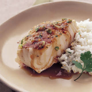 Sake-Steamed Sea Bass with Ginger and Green Onions.