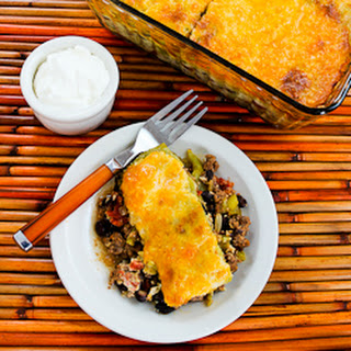 Spicy Green Chile Mexican Casserole with Ground Beef, Black Beans, and Tomatoes.