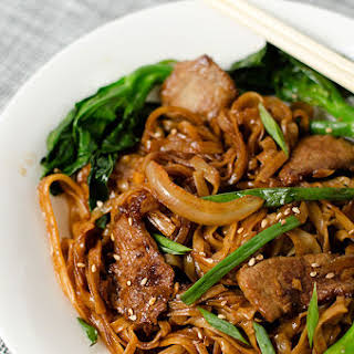 Beef Chow Fun with Chinese Broccoli.