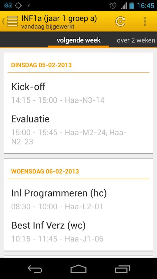 TimeTables - Inholland Rooster - screenshot