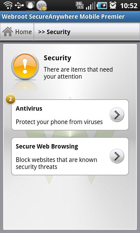 SecureAnywhere Antivírus - screenshot