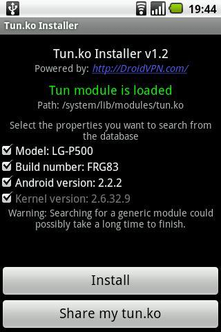 TUN.ko Installer: captura de pantalla