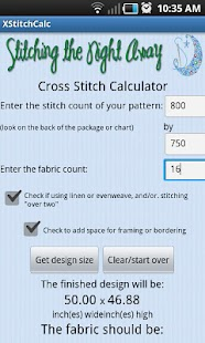 Cross Stitch Fabric Calculator - screenshot thumbnail