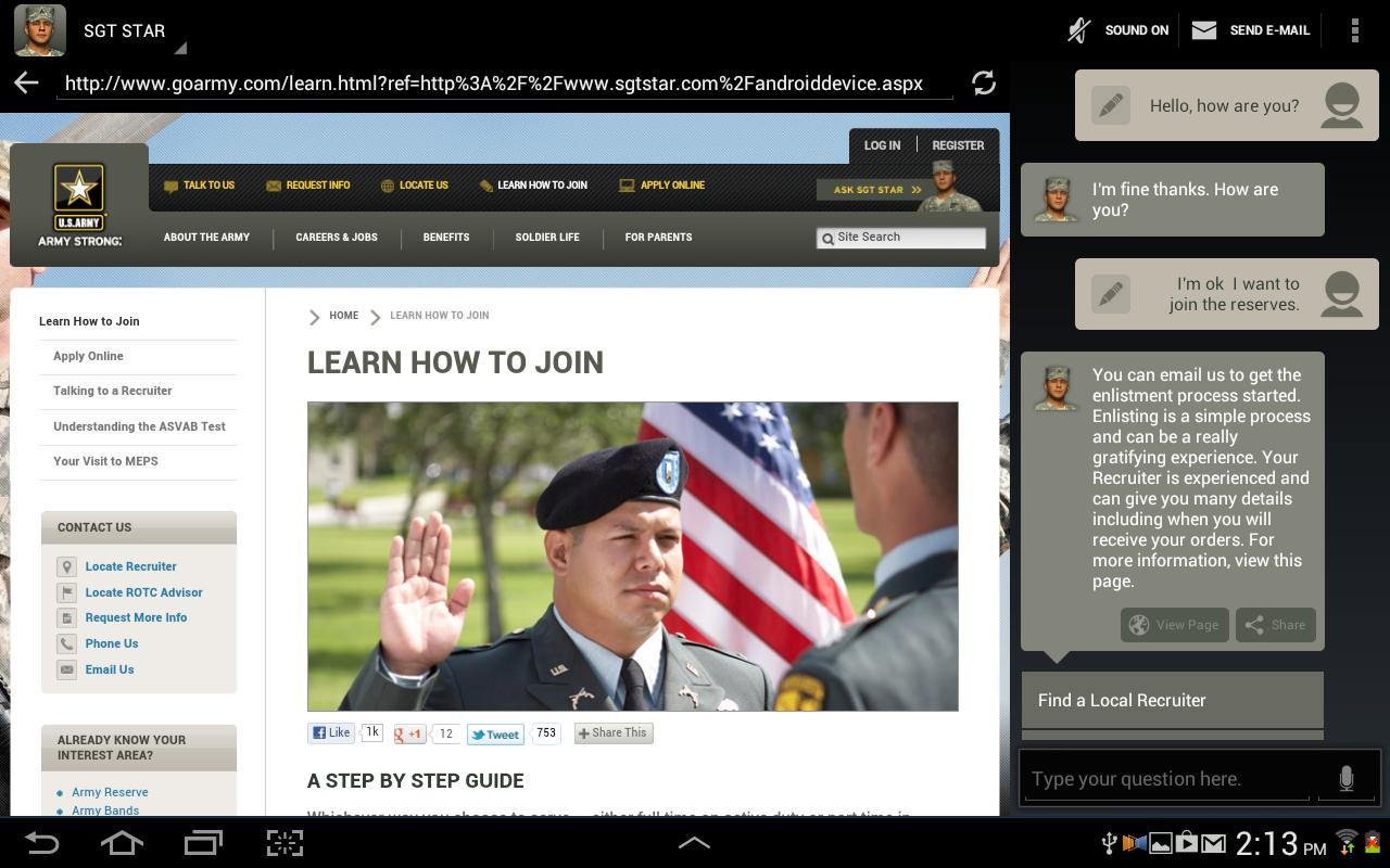 SGT STAR: Army's Virtual Guide - screenshot