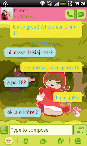 GO SMS Red Riding Hood Theme