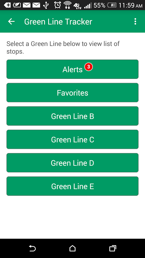 MBTA Green Line Tracker- screenshot