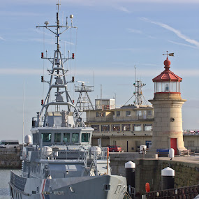 Border Control. by Mark Milham - Transportation Boats ( canon, border control, ramsgate harbour, ship, harbour, lighthouse, sigma 50-500, ramsgate, boat )