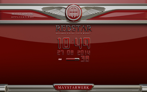 Digi Clock Widget Red Star app for Android screenshot