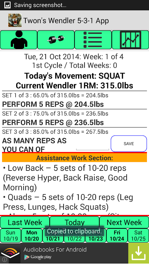 Twon's Wendler 5-3-1 App- screenshot