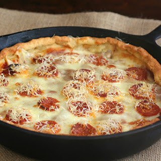 Deep Dish Skillet Sausage Pizza