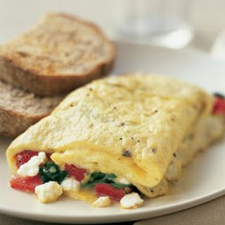 Roasted Red Pepper, Spinach and Feta Omelet