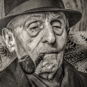Loven Life by Michael Wolfe - People Portraits of Men ( oldman, elderly, portrait of man, coat, pipe, hat,  )