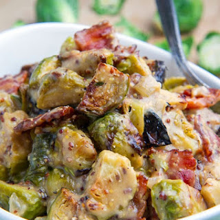 Roasted Brussels Sprouts and Bacon in a Mustard Cream Sauce.