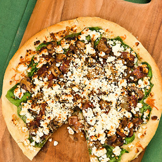 Spinach, Mushroom and Goat Cheese Pizza.