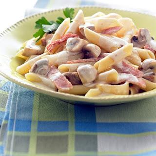 Cheesy Bacon and Mushroom Pasta.