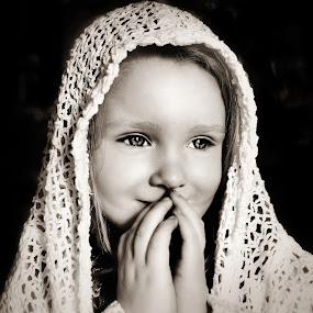 Ready to Pray B & W by Cheryl Korotky - Black & White Portraits & People ( lace, a heartbeat in time photography, amazing faces, beautiful children, b & w, pray, knit, child model nevaeh, scarf,  )