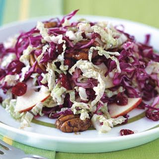 Red and Napa Cabbage Salad with Braeburn Apples and Spiced Pecans.