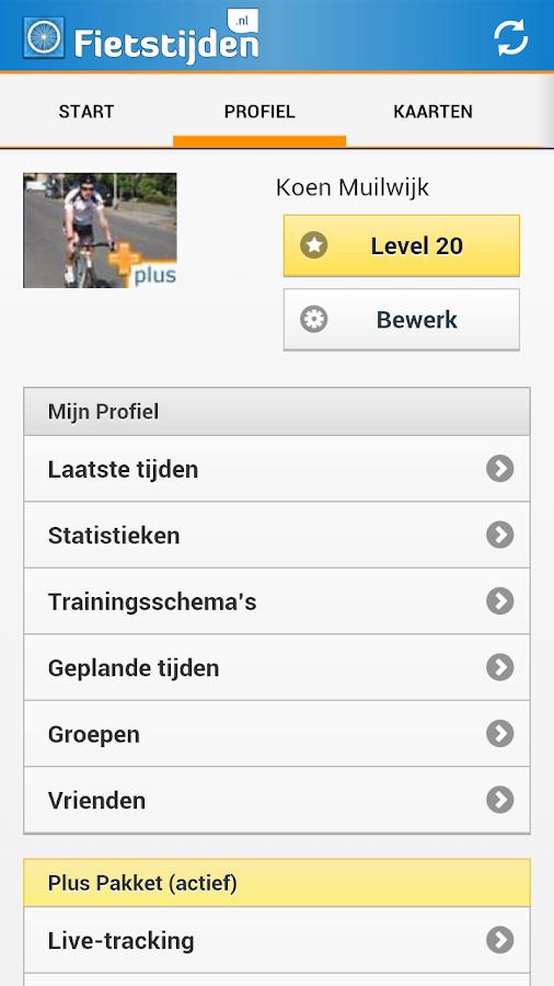 Fietstijden.nl - GPS fiets-app - screenshot