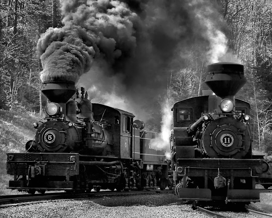 Two for the Show in BW by Chuck  Gordon  - Black & White Objects & Still Life ( cass, railroad, bw, train, smoke, steam )