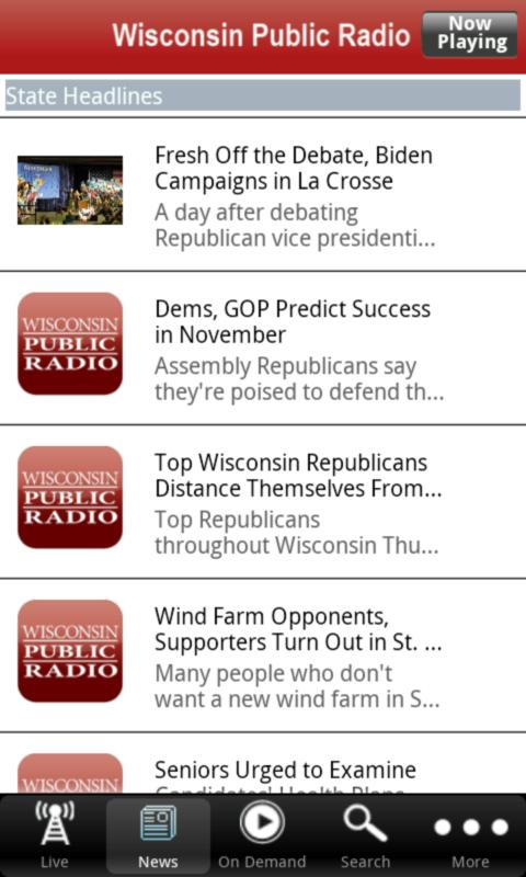 Wisconsin Public Radio App- screenshot