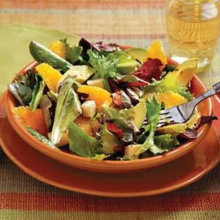 Mixed Green Salad With Cilantro-Lime Vinaigrette.