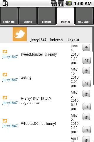 TweetMonsterRSS - screenshot