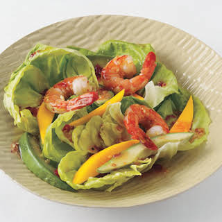 Shrimp, Mango, and Avocado Salad with Sweet Chili-Ginger Vinaigrette.