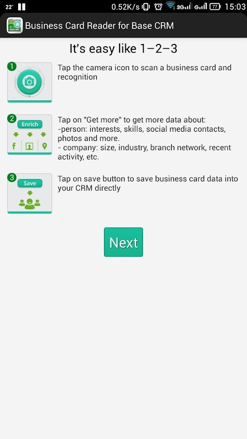 Business card reader for base crm android apps on google play business card reader for base crm screenshot reheart Image collections