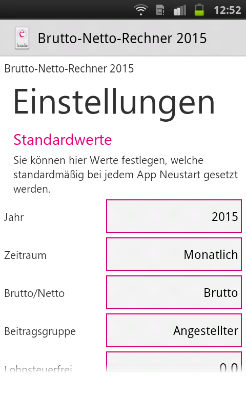 Brutto Netto Rechner 2015- screenshot